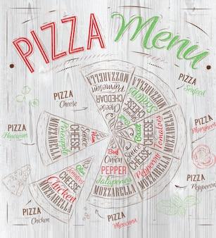 Pizza menu wood