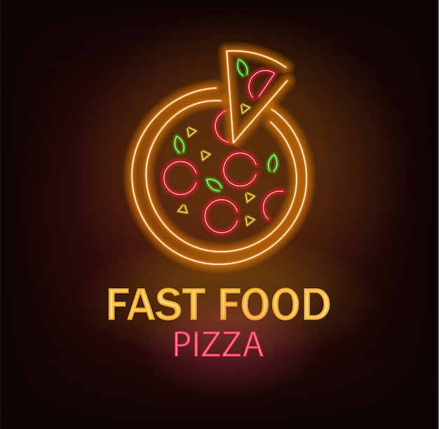 Pizza neon, fast food neon, delicious pizza, neon light
