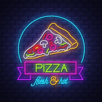 Pizza  neon sign vector on brick wall background