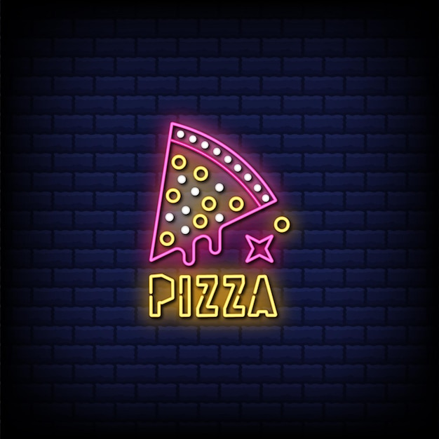 Pizza neon signs style text
