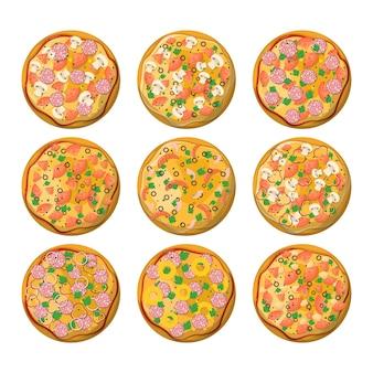 さまざまな種類のピザセット。マルゲリータとペパロニ