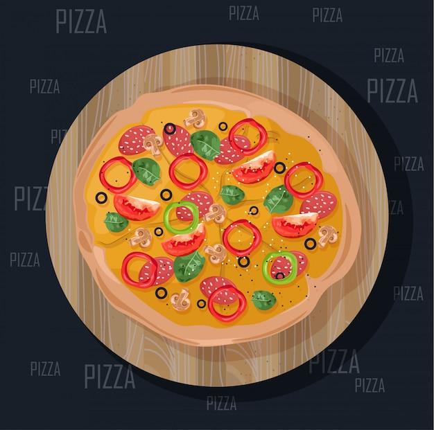 Пицца на черном фоне. вкусная плоская иллюстрация стиля