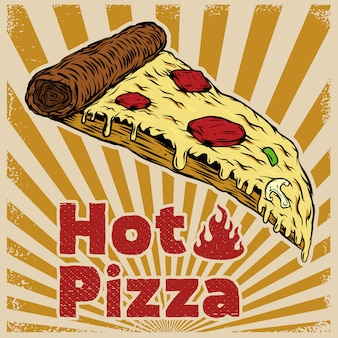 Пицца на фоне старинных. элемент для плаката, флаера. иллюстрация