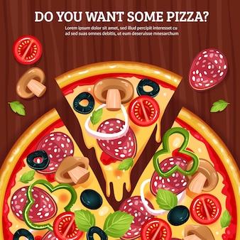 木の板の背景にピザ