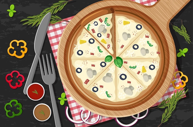 Пицца на деревянной тарелке с различными овощами на фоне стола