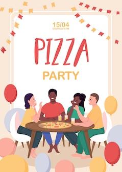 Плоский шаблон плаката вечеринки пиццы. друзья проводят время вместе.