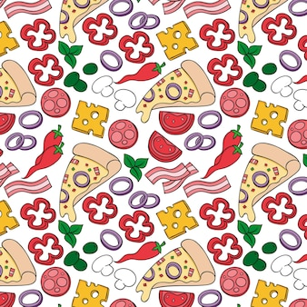 Pizza pattern in hand draw style