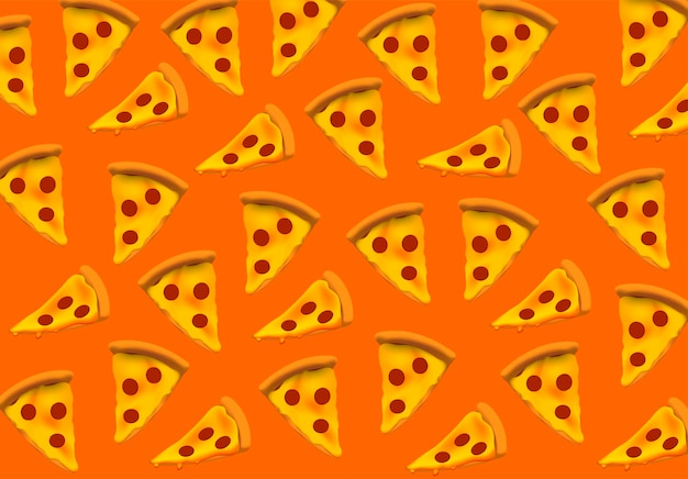 Шаблон пиццы ломтик пиццы бесшовные векторные иллюстрации баннер открытку