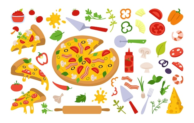 Pizza pieces and ingredients cartoon set italian hand drawn pizzas with greens, pepper, tomato, olive, cheese, mushroom. margarita and hawaiian, pepperoni or seafood, mexican