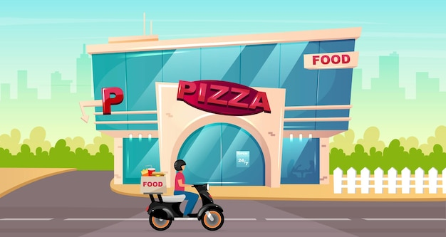 Pizza place on street flat color . fast food delivery on motorbike. cafe exterior by sidewalk. modern 2d cartoon cityscape with glass urban building on background.