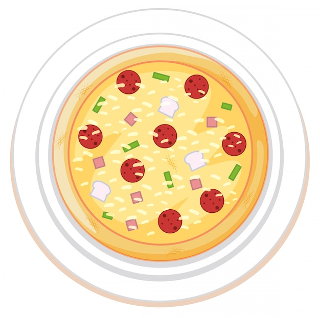Pizza on plate white background
