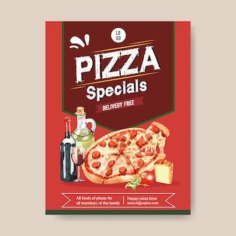 ペパロニピザ水彩イラストとピザポスターデザイン。