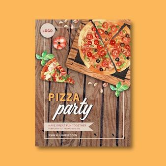 カボチャ、バジル、ピザの水彩イラストのピザポスターデザイン。