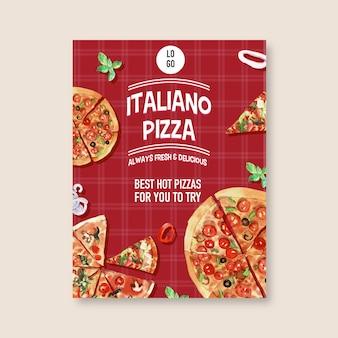 さまざまなピザの水彩イラストのピザポスターデザイン。