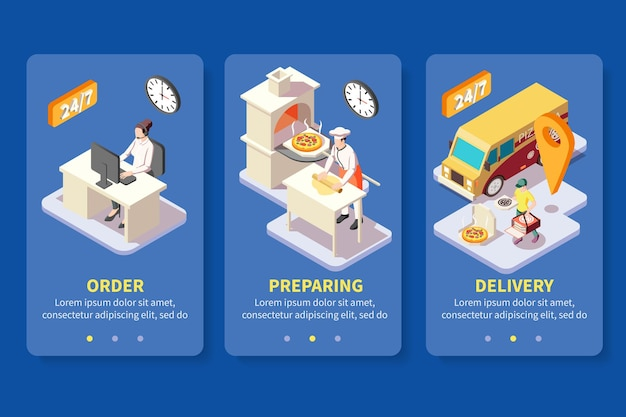 Pizza production pizzeria isometric banners set