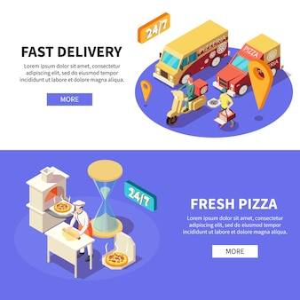 Pizza production pizzeria isometric set of horizontal banners
