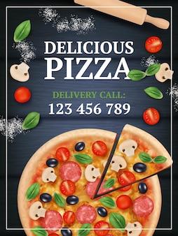 ピザプロモーションポスター。野菜と食事のリアルなプラカードでおいしいおいしい伝統的なイタリア料理をスライスしました。