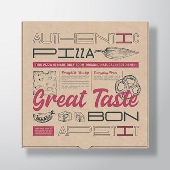 Pizza realistic cardboard box container. packaging mockup