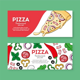 Pizza restaurant banner set template