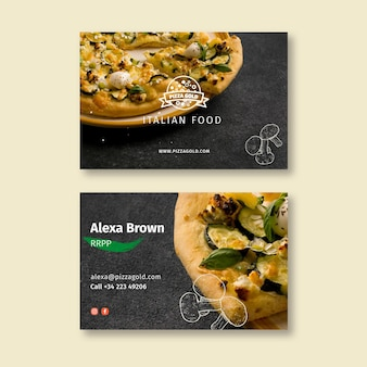 Pizza restaurant double sided business card