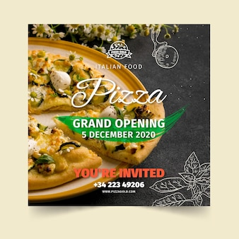 Pizza restaurant flyer square
