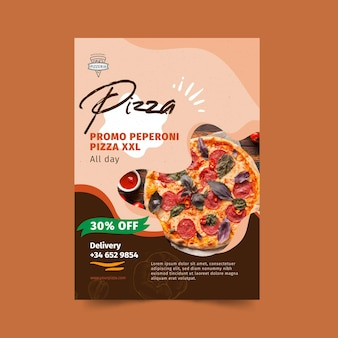 Pizza restaurant flyer vertical