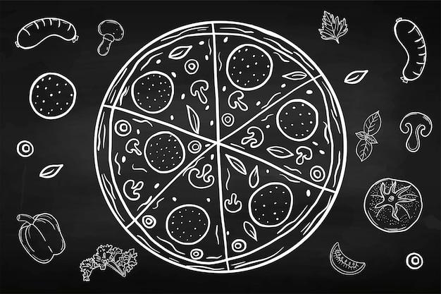 Пицца. ресторанная еда. рука рисунок. для вашего дизайна.