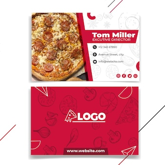 Pizza restaurant horizontal business card