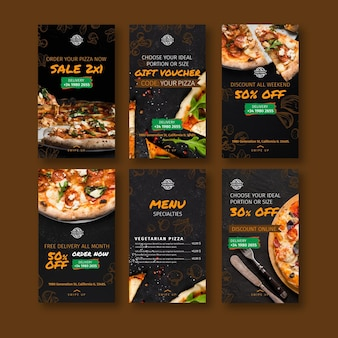 Pizza restaurant instagram stories Premium Vector