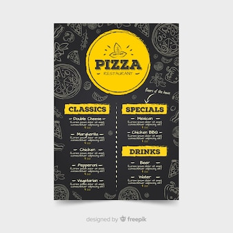 Pizza restaurant menu template with chalkboard style