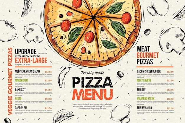 Pizza restaurant menu template