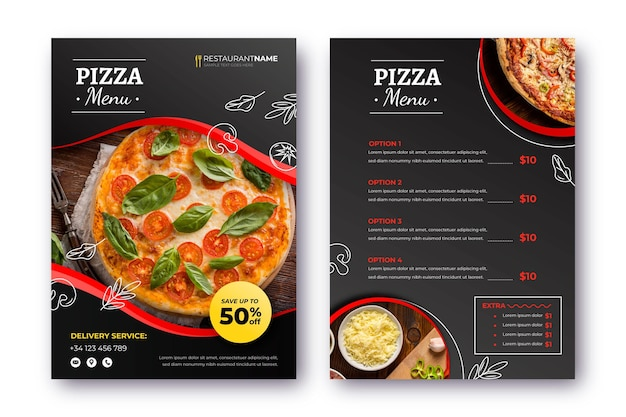 Pizza restaurant menu with photo