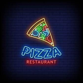 Пицца ресторан неоновые вывески стиль текстовый вектор