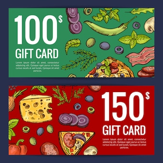 Pizza restaurant or shop giftcard or discount templates