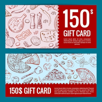 Pizza restaurant or shop giftcard or discount templates.