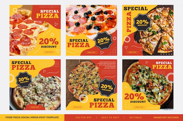 Pizza restaurant square banner collection