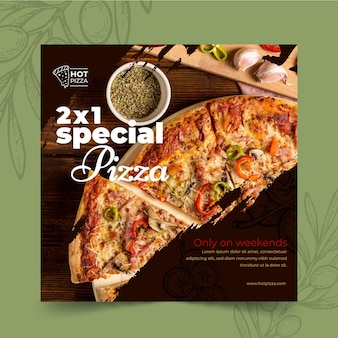 Пицца ресторан квадратный флаер шаблон