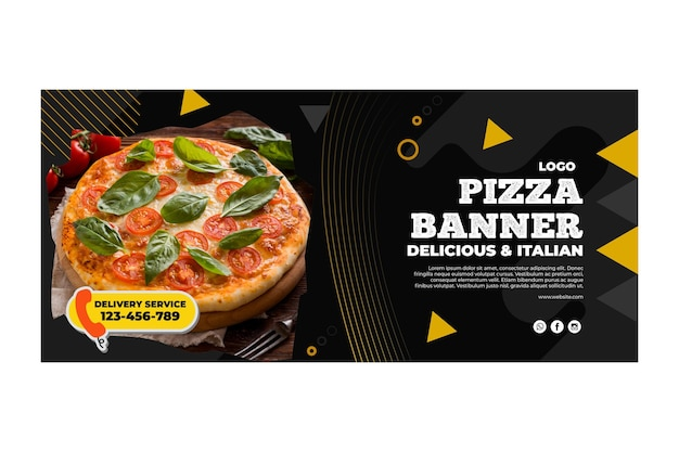Пицца ресторан шаблон баннер