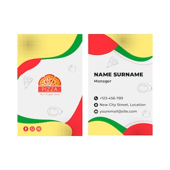 Pizza restaurant vertical business card template