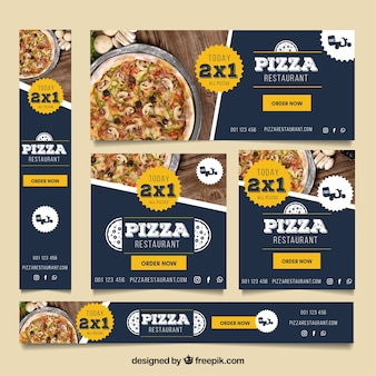 Pizza restaurant web banner collection with photos