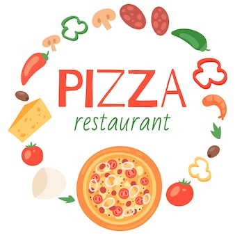 Pizza restaurant with ingredients template