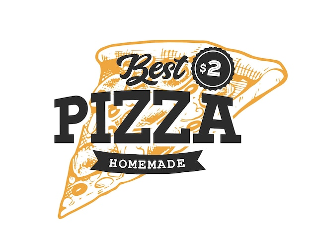 Пицца ретро эмблема. шаблон логотипа. черный текст и желтый эскиз пиццы. eps10 векторные иллюстрации.
