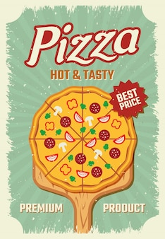 Pizza retro style poster