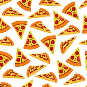 ピザシームレスパターンの背景ベクトルのデザイン