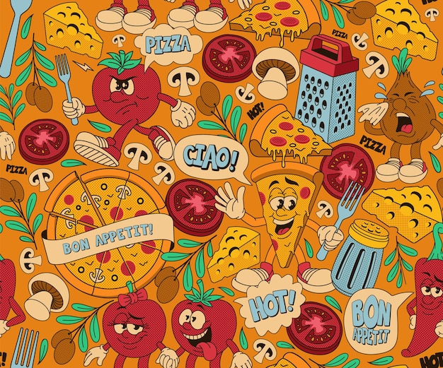 Pizza seamless pattern, background with different cartoon characters for a pizzeria theme