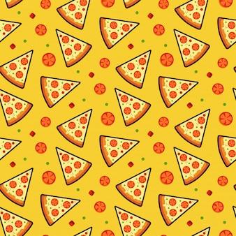 ピザのシームレスなパターン、テクスチャ、印刷、表面。イタリア料理