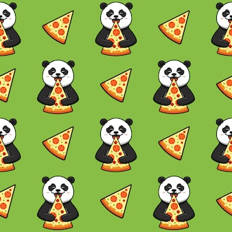Pizza seamless pattern, texture, print, surface with panda. italian food