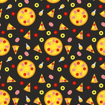Pizza seamless pattern with slices and ingredients.