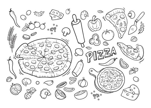 Pizza set doodle