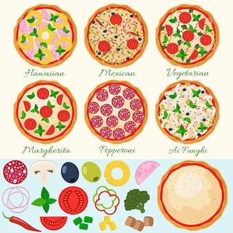 ピザセット。ハワイアン、マルゲリータ、ペパロニ、ベジタリアン、メキシカン、マッシュルームのピザ。孤立したピザの材料